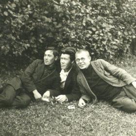 Муса Джалиль, Хасан Туфан, журналист Габделхай Хабиб. Дом творчества «Малеевка». 1931